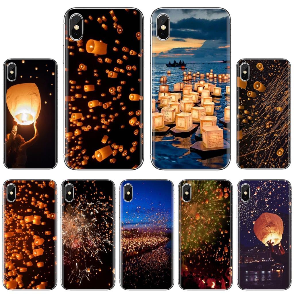 Céu noturno e lanterna flutuante festival macio tpu caso para xiaomi mi5 mi5 mi6 mi3 mi4 mi4i mi4c redmi note 2 3 s 5 5a 6 6a pro