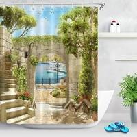 Rideau de douche impermeable en tissu Polyester  decor de salle de bains  rideau de douche impermeable  accessoire de bain en Polyester  arc ancien avec vue sur la mer et les piliers