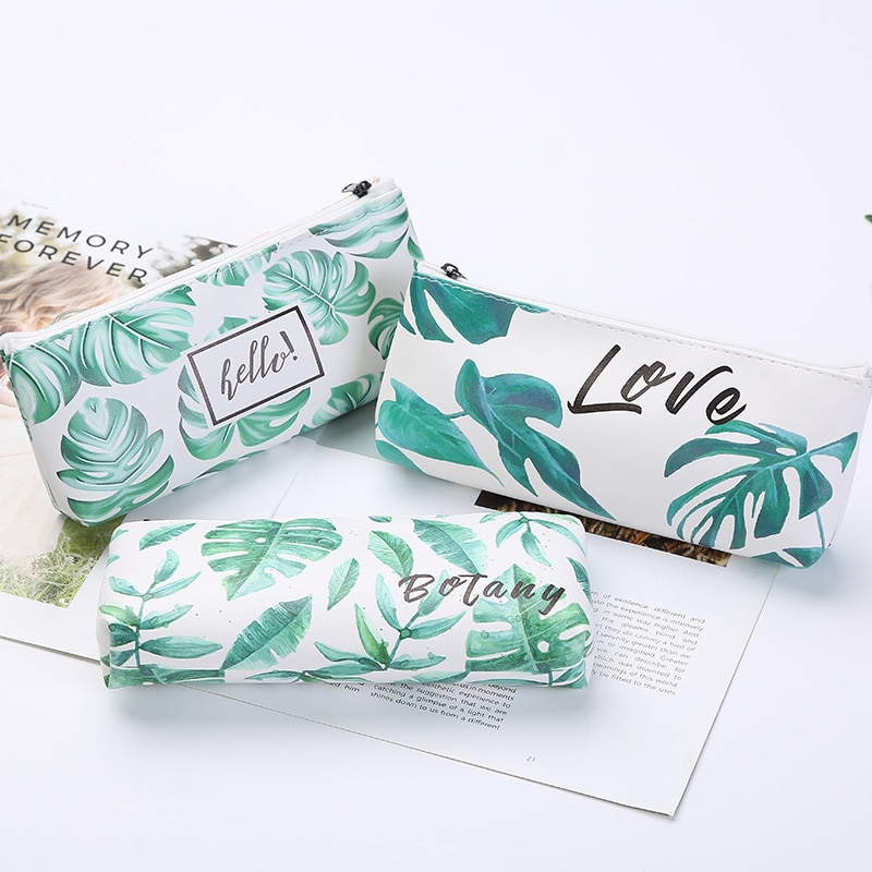 Korean Kawaii Pencil Case Pencil Pouch Bag Turtle Leaf Pencil Bag High Capacity Pencil Pouch Office Storage Supplies Stationery