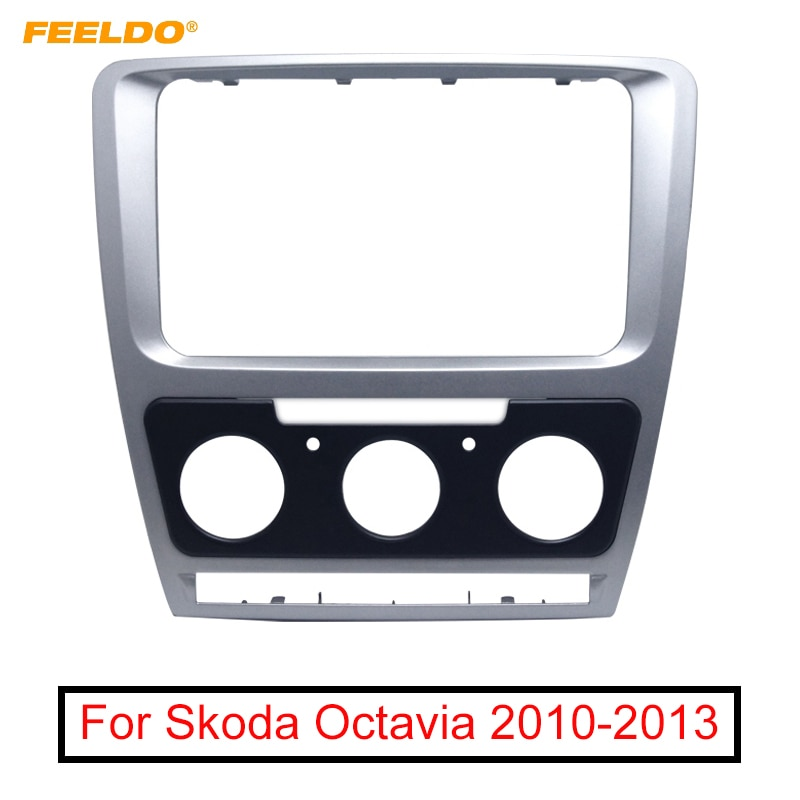FEELDO Car Radio Stereo 2DIN Fascia Panel Refitting Frame Facia Trim Install Mount Kit For Skoda Octavia (10~13) Manual A/C