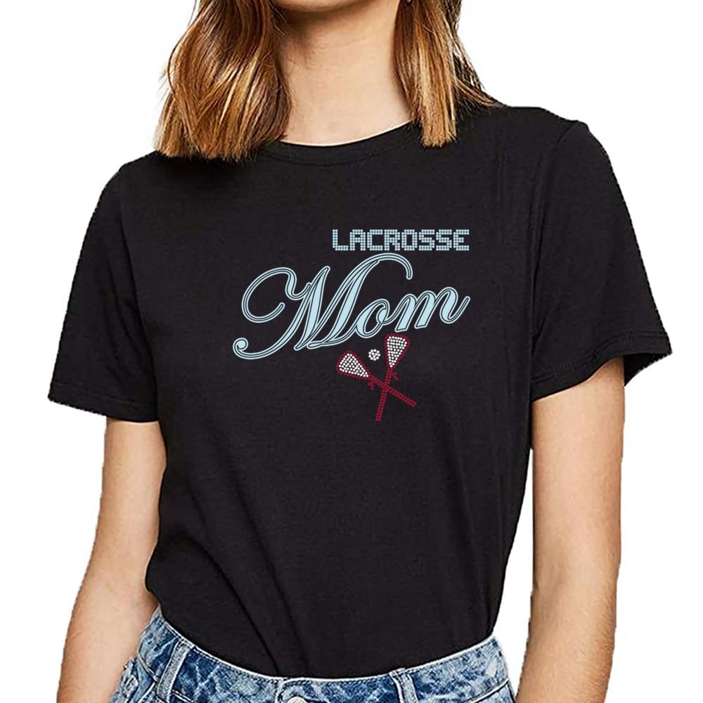 Camisetas de lacrosse mãe strass humor branco personalizado feminino tshirt