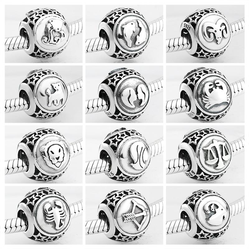 925 Стерлинговое серебро Мода 12 Созвездие звезда Зодиак бусины амулеты подходят оригинальный Pandora Шарм браслет Изготовление ювелирных изделий