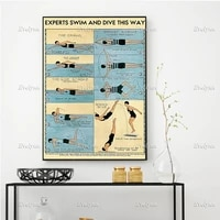 experts swim and dive this way poster living room decoration home decor canvas wall art prints unique gift floating frame