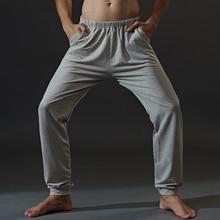 Summer Cotton Men Sleep Bottoms Casual Loose Pajamas For Men Solid Home Wear Pants Men's Sleep & Lou