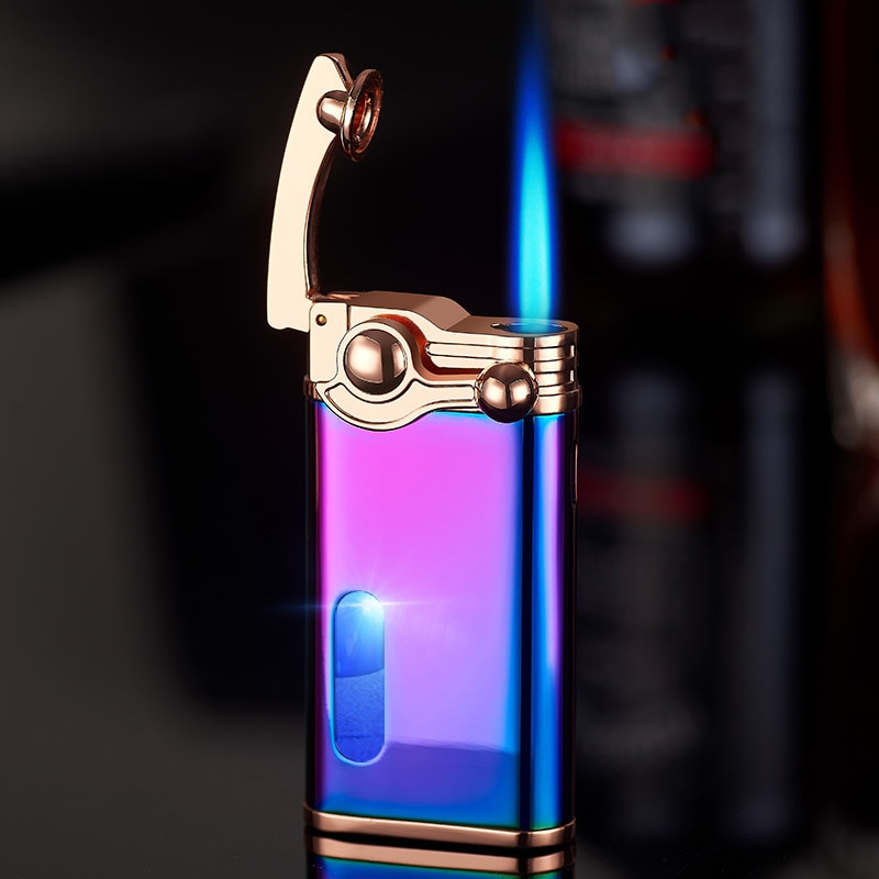 Metal Vintage Jet Torch Turbo Flint Lighter Smoking Accessories Mini Cigar Lighter Man's Gadget enlarge