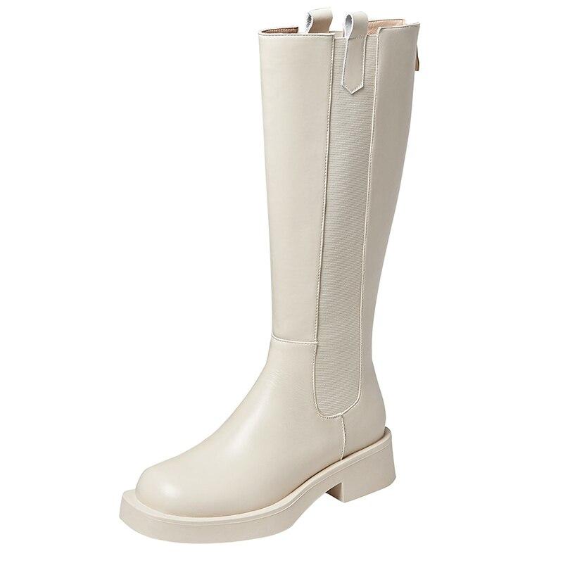 الخريف الشتاء الأحذية الحديثة الركبة عالية التمهيد أنيقة قصيرة أفخم الدافئة الأسود أوف وايت المرأة منخفضة الكعب أحذية نسائية الأحذية A5