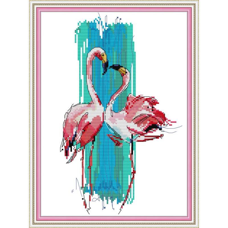Joy Sunday New Clear Patten Flamingo Dance 11&14CT Cross Stitch Kits Embroidery Needlework For Home Decor Kits Handmade DIY Gift