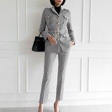 Moda Oficina señoras Plaid Suit Slim Fit primavera nuevo 2 piezas Blazer pantalones trajes Vintage negocios trabajo conjuntos conjunto femme