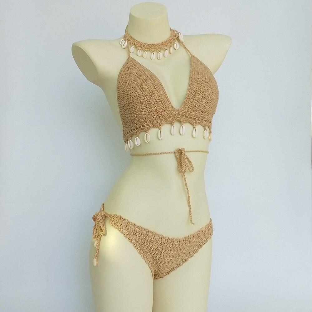 3pcs Bikini Set Woman Crochet Shell Tassel Bikini Top And Seashell Ankle Chain Sexy Thong Hollow-out Low Waist Bikini Bottom