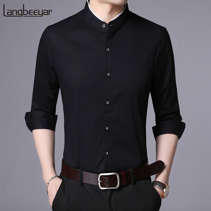 2020 Fashion Brand Shirt Men Mandarin Collar Long Sleeve Regular Fit Cotton Autumn Black Korean Dress Shirt Casual Men Clothes