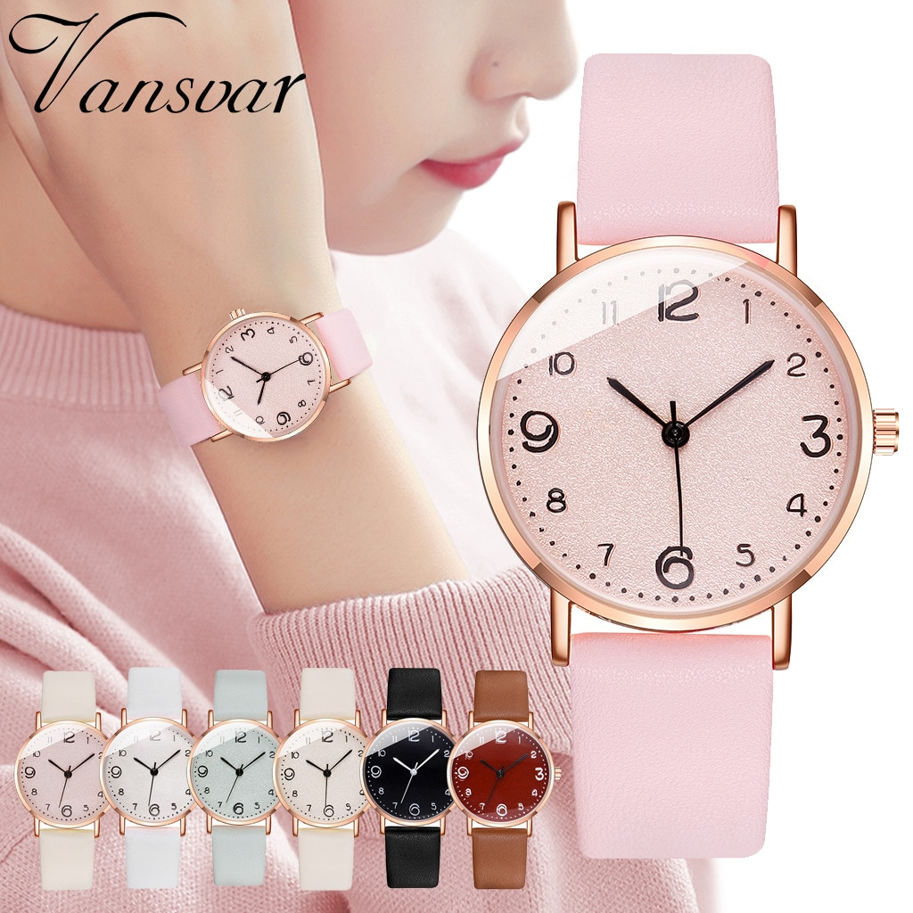 New Korean Female Quartz Watch Business Pink Leather Strap Simple Read Number Female Wrist Watch For