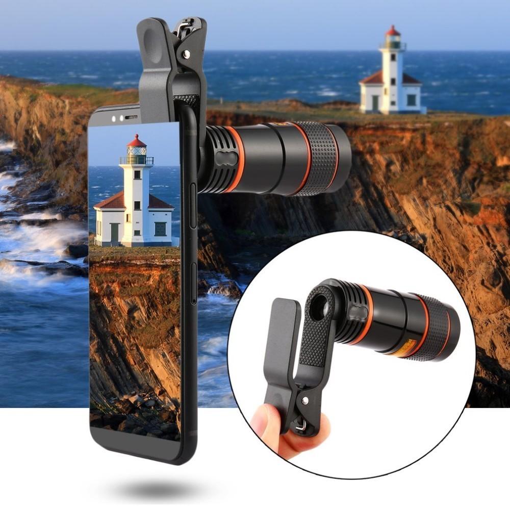 8X 12X Universal Zoom Lens Telephoto Lens Zoom Effect High-definition Lens Long Focus Monocular Phone Telescope for Mobile Phone