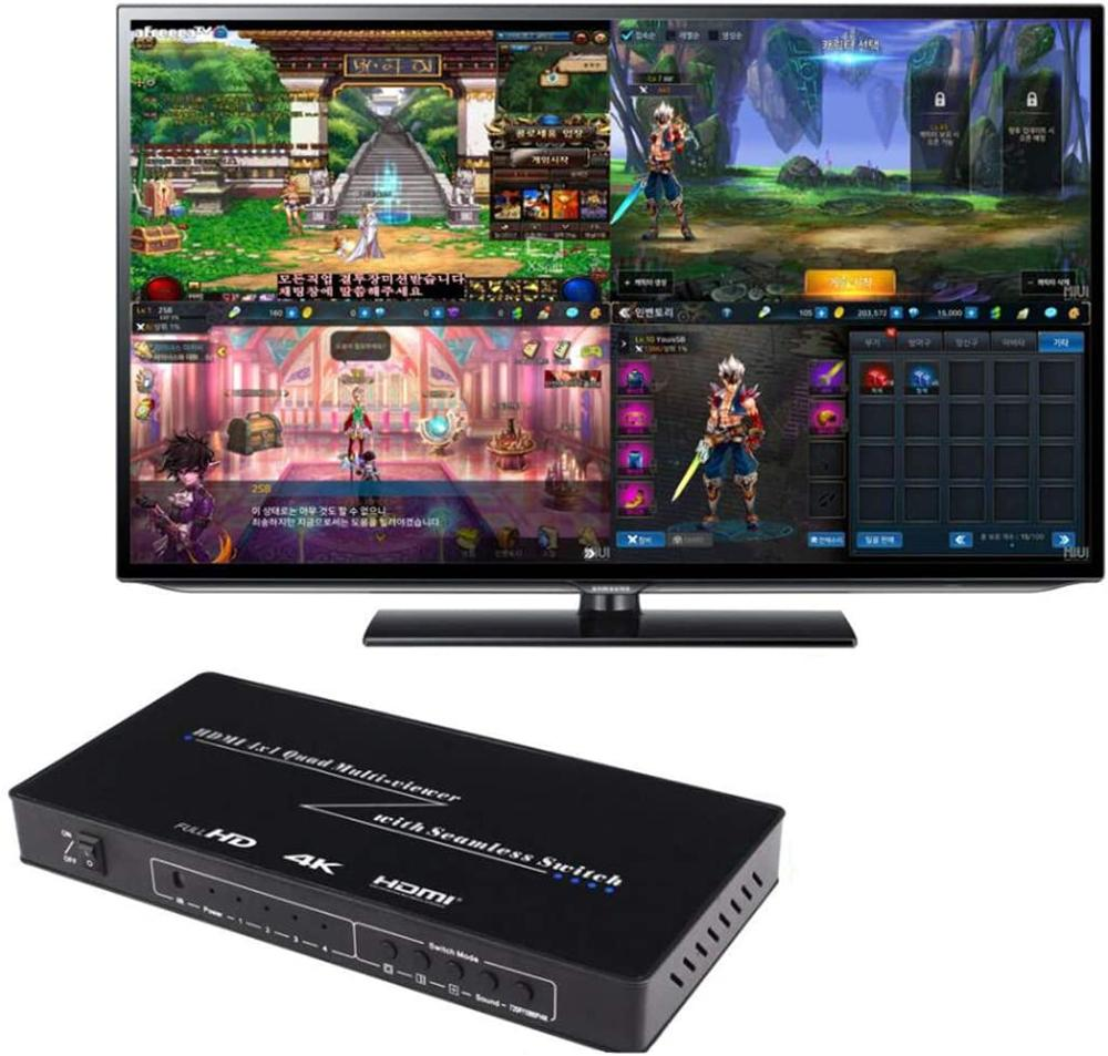 4X1 HDMI Multi-viewer HDMI Quad Screen Real Time Multiviewer with HDMI seamless Switcher function Support 3D 4K enlarge