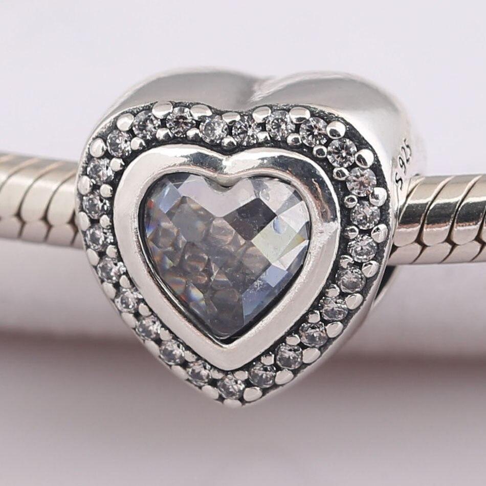Autêntico s925 grânulo diy jóias espumante amor charme caber pandora pulseira claro cz coração