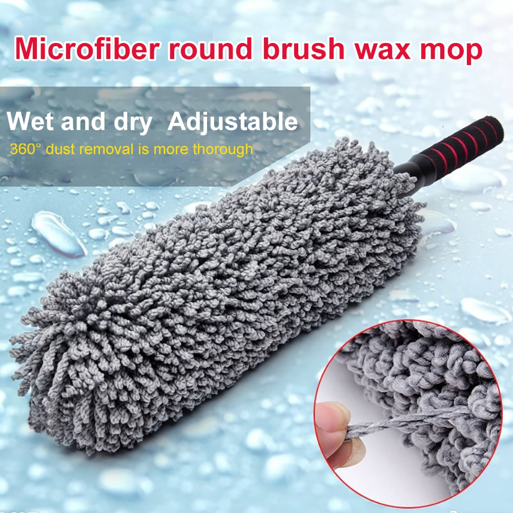 1pc microfiber telescoping car body duster wax dust mop cleaning brush cotton nanofiber car microfiber dust grey brush 13 5x40cm Car Washing Mop Dust Mop Cleaning Brush Microfiber Telescoping Car Body Duster Wax Auto Care Cleaning Tools Accessories