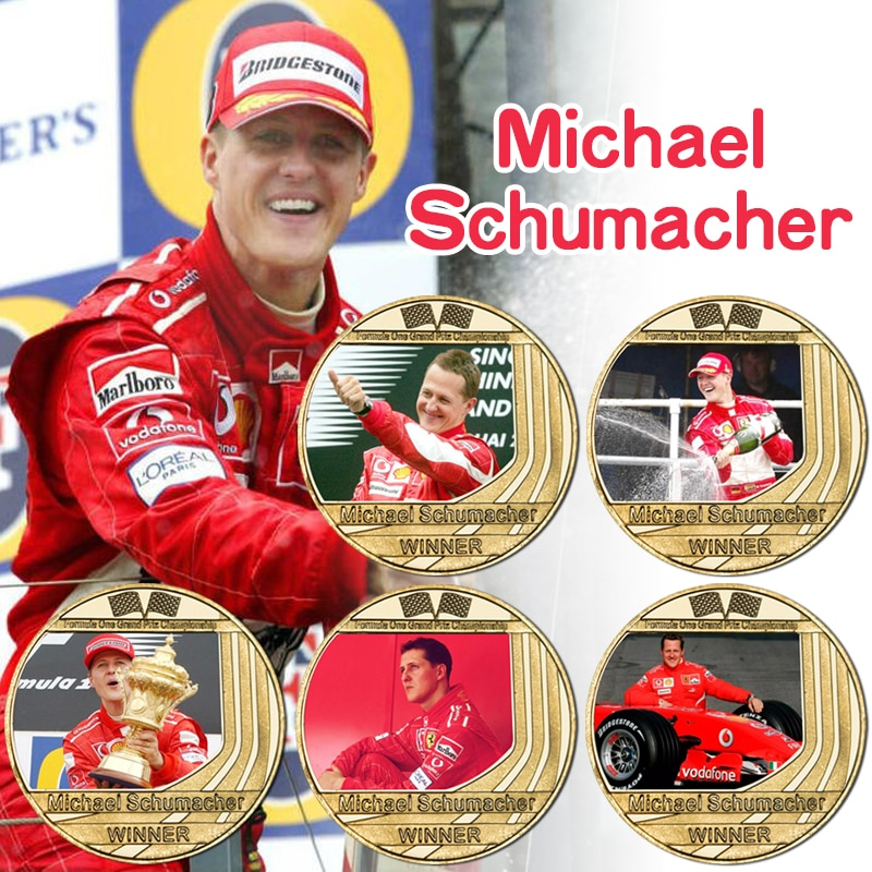 World Drivers' Champion Gold Plated Commemorative Coins Sports Collectibles German Racing Driver Challenge Coin Souvenir Gifts недорого