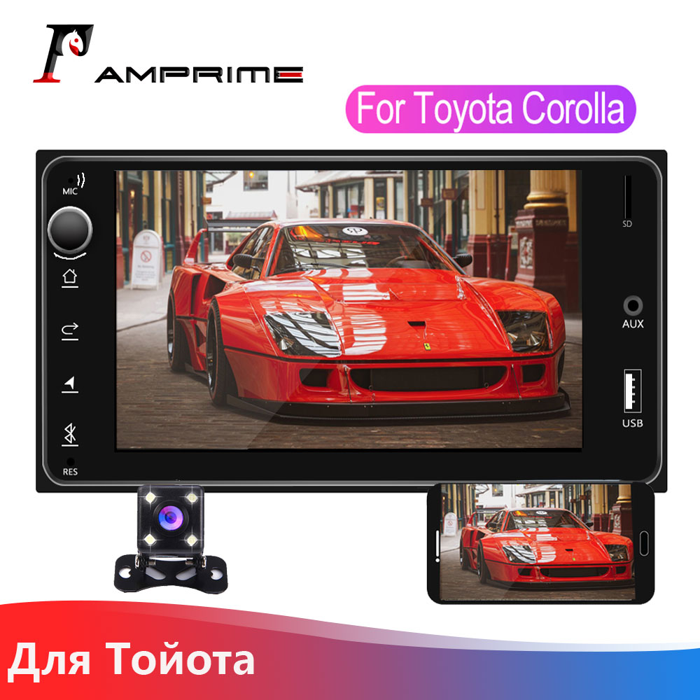 "AMPrime 2 Din coche radio 7 ""Multimedia para Toyota Corolla estéreo para coche Android/IOS Autoradio MirrorLink Bluetooth TF USB FM Cámara"