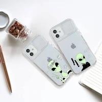fashion e t alien phone case transparent for iphone 7 8 11 12 x xs xr mini pro max plus slide camera lens protect