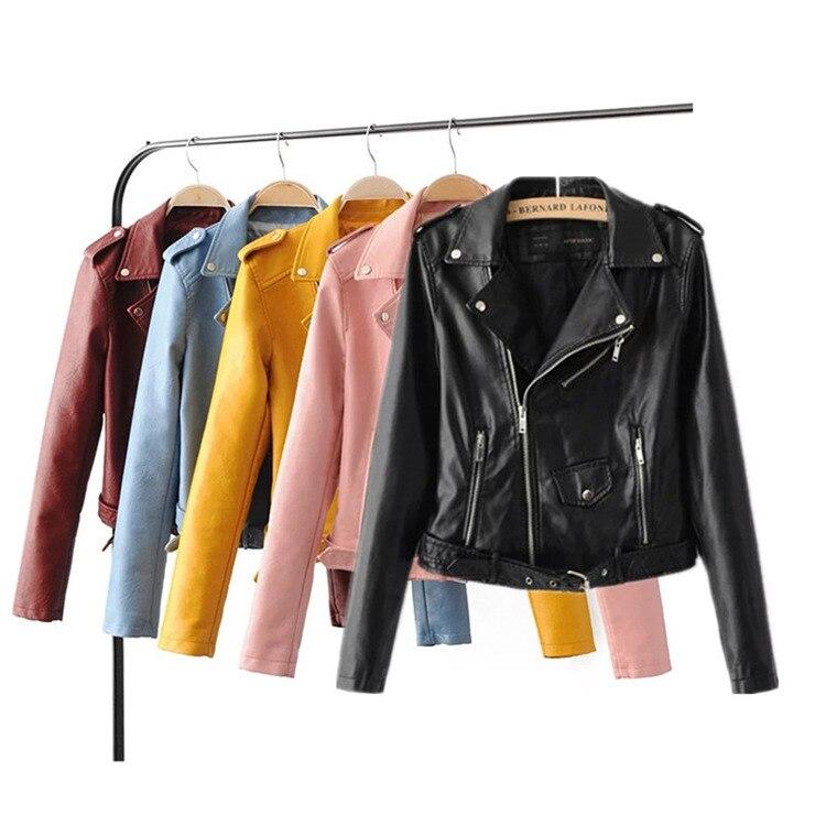 Осенняя новая кожаная куртка, женская короткая мягкая куртка из искусственной кожи на молнии, мотоциклетная куртка из искусственной кожи с ...