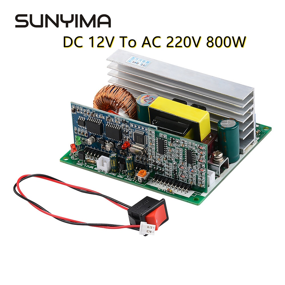 SUNYIMA 1 قطعة العاكس موجة جيبية نقية العاكس الدائرة 12 فولت إلى 220 فولت 800 واط لوحة للقيادة محول مجلس