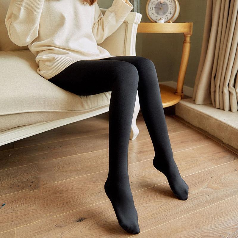NORMOV Women Solid Color Thin Leggings High Waist Elastic Skinny Tread Foot Fitnss Leggings Female Casual Knitting Leggings