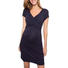 2020  popular style lactation clothing wave point printing short sleeve V collar pregnant woman feeding dress  Q0806