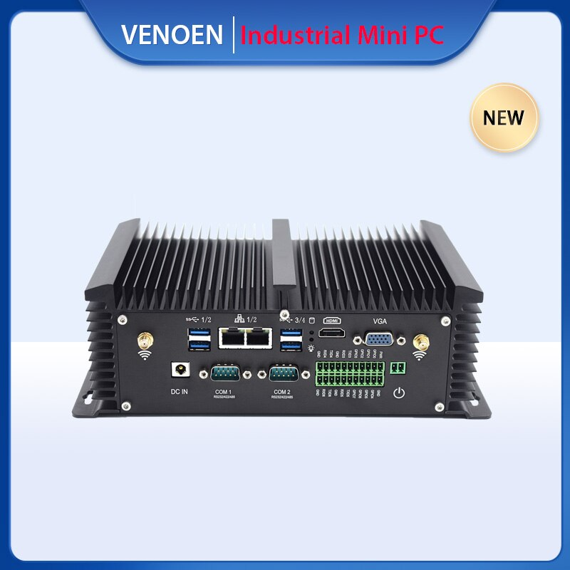 كمبيوتر صناعي صغير ITX إنتل كور i5 i7 8250U 7600U RS485 كوم بطاقة SIM 8 GPIO ميناء لينكس ويك على LAN صندوق صغير مصنع الكمبيوتر