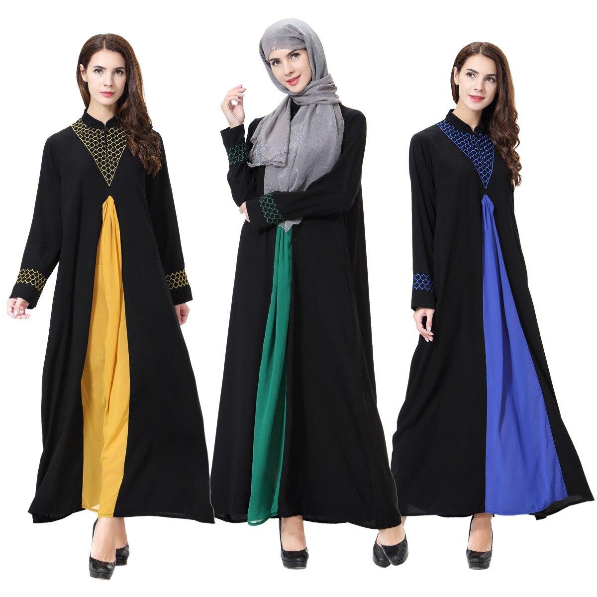 Vestidos de mujer musulmana patchwork árabe Abaya Dubai elegante Kaftan turco túnica femenina caftán ropa islámica vestido árabe TH901