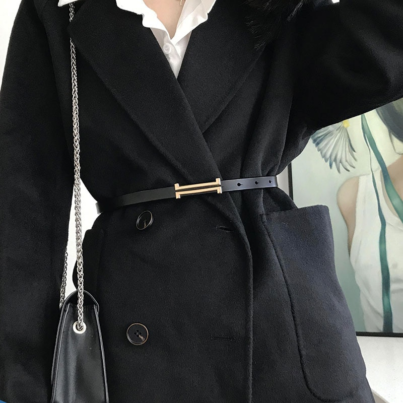 New Fashion Leather Thin Belt For Women Personality Metal Buckle Waist Strap Designer Ladies Trouser Dress Decoration Waistband