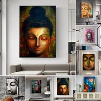 abstract buddha face poster wall art canvas painting prints and pictures buddhism poster cuadros home living room decor no frame