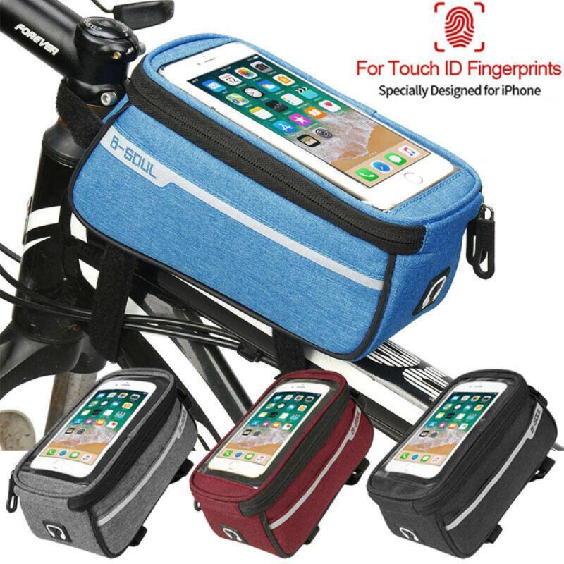 Bolsa para tubo delantero de bicicleta de montaña, 6 pulgadas, carcasa de teléfono con soporte para bicicleta de montaña, accesorios para ciclismo en 4 colores