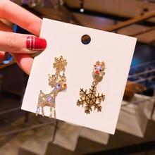 Long Tassel Snowflake Earrings Christmas Snow Deer Earrings Pendant Rhinestone For Women Party Jewelry