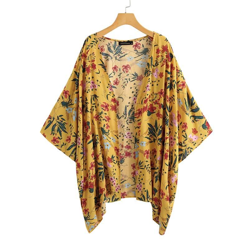 ZANZEA, Kimono de verano bohemio, capa, blusa estampada para mujer, cárdigans florales informales, Túnica de punto abierto para mujer, Túnica de talla grande