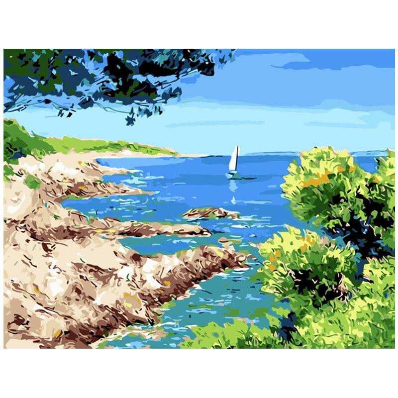 Sailboat.40x50cm, pintura por números, DIY, arte de pared, decoración de Sala, paisaje, figura, Animal, flor, dibujos animados