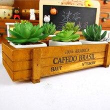 Jardin plante Pot décoratif Vintage Succulent boîtes en bois caisses Rectangle Table Pot de fleur jardinage dispositif décor à la maison 626