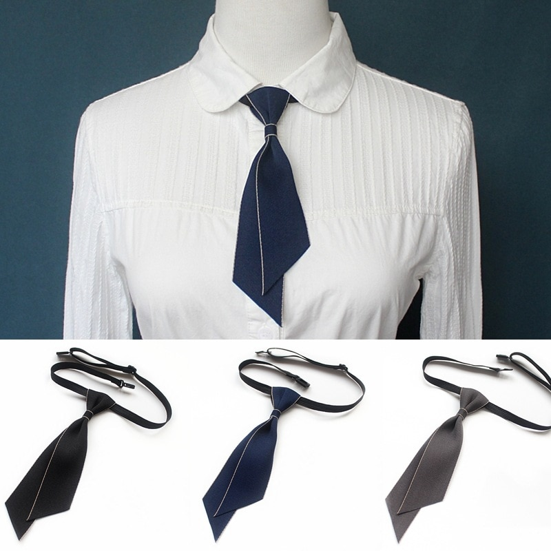 Simple Slim Neck Tie Women's General Professional Dress Self Bow Tie White Shirt Collar Bow Tie for Women Girls Accessories plus self tie bow top