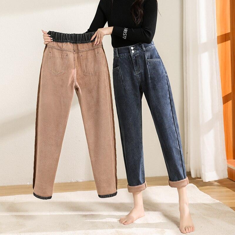 Новые зимние женские флисовые джинсы с высокой талией, бархатные утепленные сохраняющие тепло свободные брюки Harlan, женские джинсовые брюки