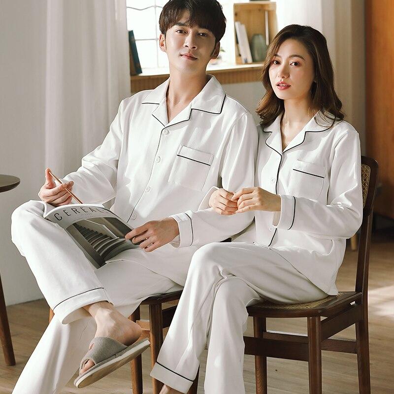 Spring Couple Pajamas 100% Cotton Bedroom Sleepwear for Women and Men Pijamas Hombre Dormir Home Clothes PJ Cotton Pyjamas Femme