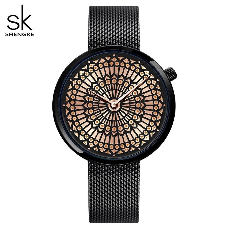 Shengke-ساعة كوارتز نسائية بسوار شبكي فولاذي ، مقاومة للماء ، فاخرة