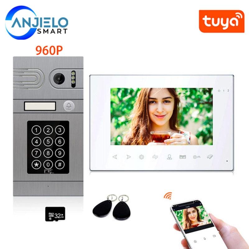 7 Inch Tuya Smart Wifi Wired 960P AHD Video Intercom System Support Password RFID card Unlock Electric Locks Remote Control