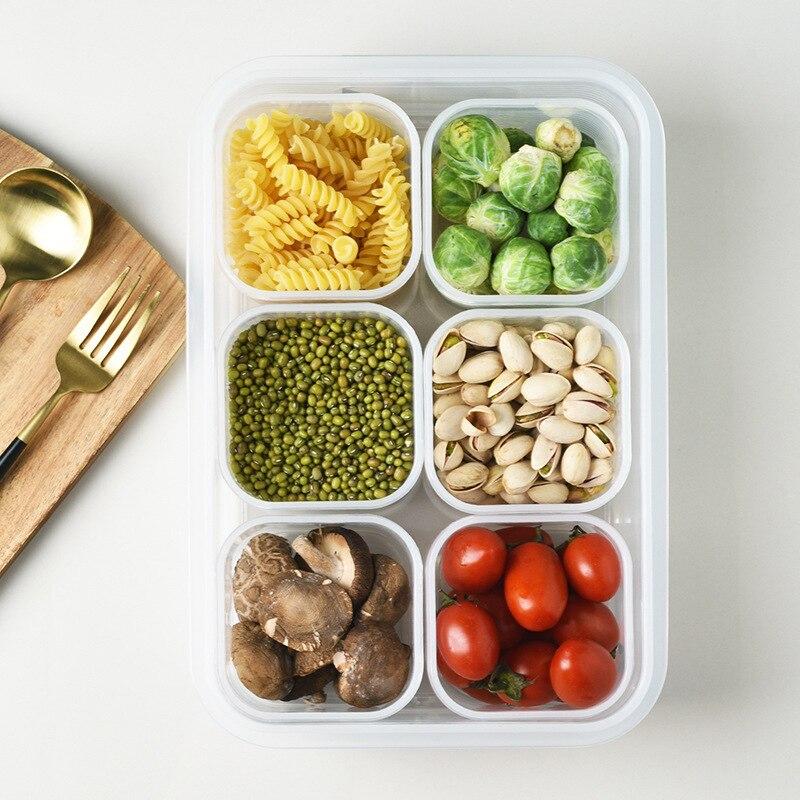 Refrigerator Storage Box Transparent Crisper Grid Food Storage Box Food Sealed Container High Capacity Plastic Vegetable Storage