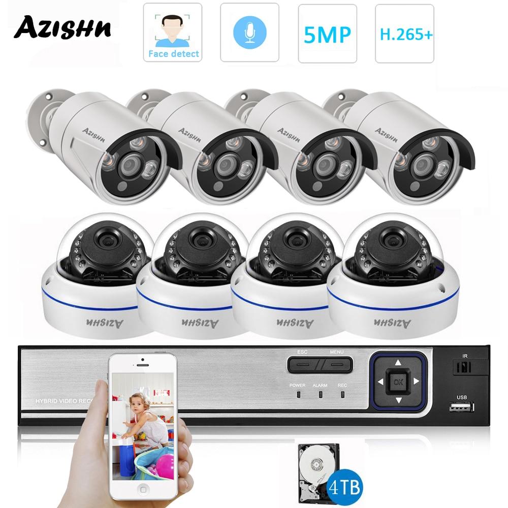 AZISHN H.265 8CH 5MP POE طقم NVR CCTV نظام الأمن قبة داخلي في الهواء الطلق 5.0MP الصوت كاميرا P2P مجموعة مراقبة الفيديو