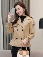 genuine leather leather womens short 2021 spring leather jacket sheepskin waist waist slimming suit collar small jacket