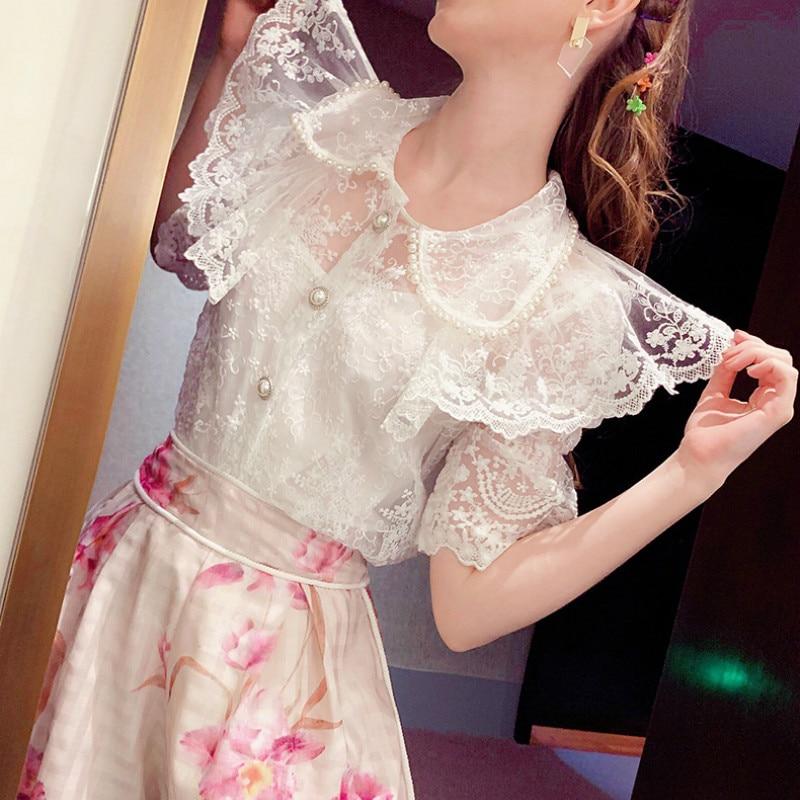 Con perlas Peter Pan Collar Puff manga de encaje blusa volantes camisa blanca mujer verano blusa de talla grande Tops Chemise S-4XL