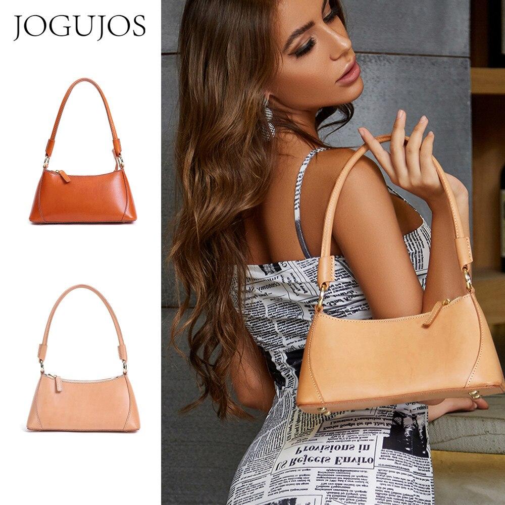 JOGUJOS  Floral Women Baguette Bag Genuine Leather Shoulder Handbag Fashion Underarm Bag for Female Solid Color Chain Totes Bags