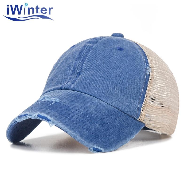 IWINTER verano Denim gorra de béisbol coleta mujer transpirable malla ajustable gorras Snapback exterior sombra deportes hombres gorras de béisbol