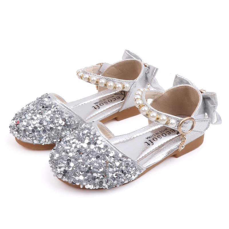 2020Spring autumn Children Kids Shoes bowknot beads Princess Girls Shoes for party and wedding Gold Silver 1 2 3 4 5 6 7 8 9-15T