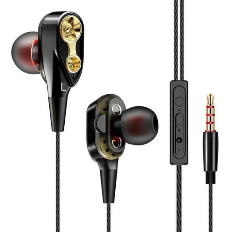 Dupla unidade estéreo fone de ouvido com fio fone de ouvido esporte com microfone mini fones de ouvido para samsung huawei xiaomi