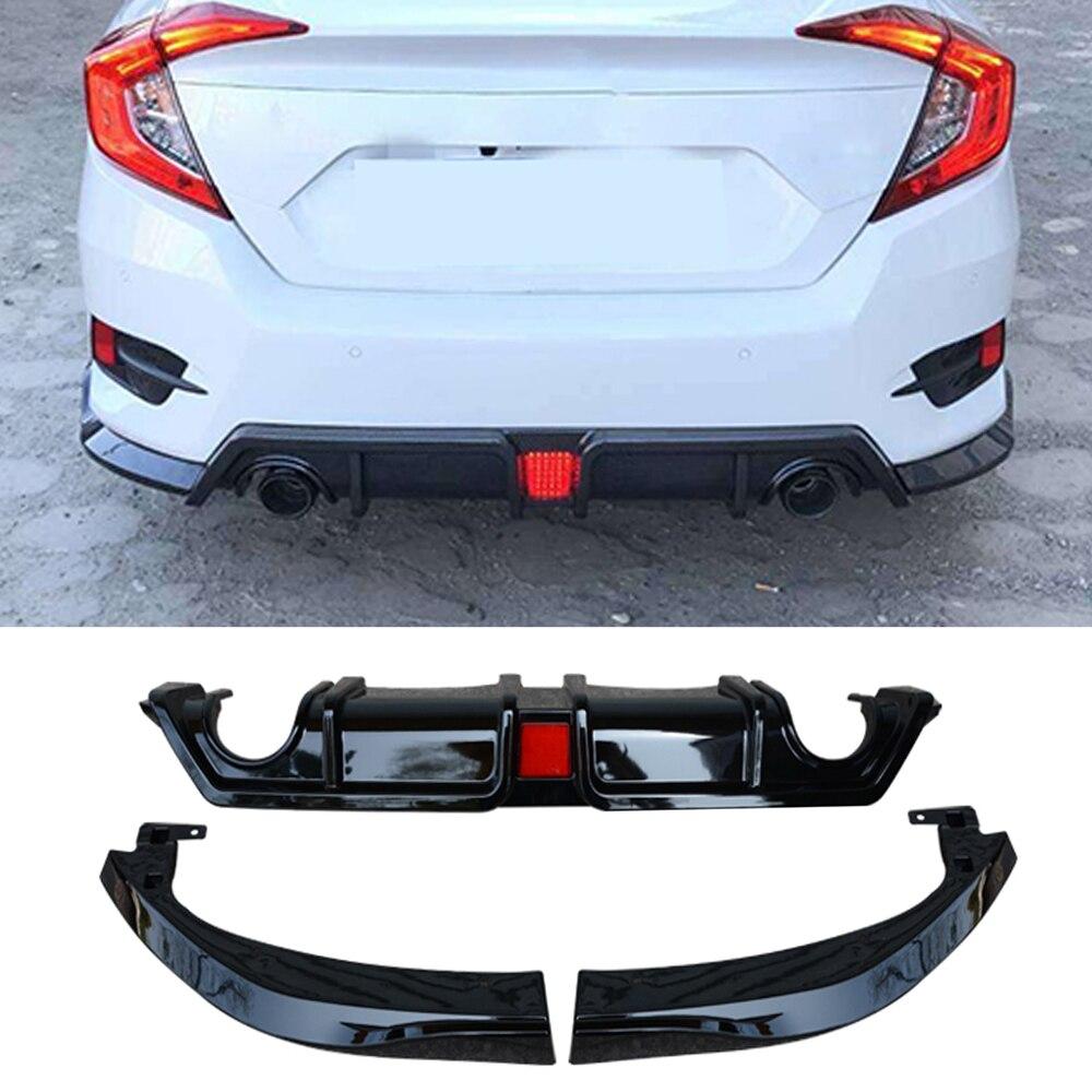 Coche para difusor de parachoques trasero labio divisores para Honda Civic 10th 2016-2018 PP difusor trasero Spoiler de carbono negro brillante mate