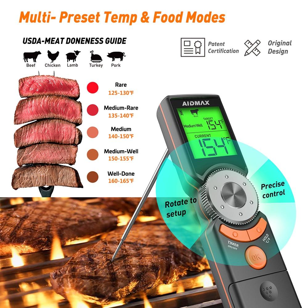 Цифровой кухонный Термометры для барбекю AidMax Mini6, водонепроницаемый, меняющий цвет, со складным щупом из нержавеющей стали, для горячей и хо...